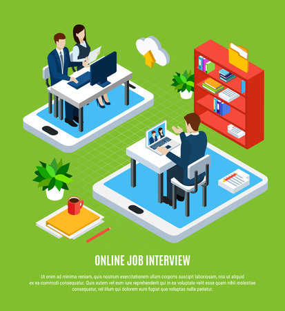 Business people isometric background with editable text and conceptual images of gadgets job applicant and recruiters vector illustration Stock Illustratie