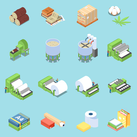 Paper production icons set with printing symbols isometric isolated vector illustration