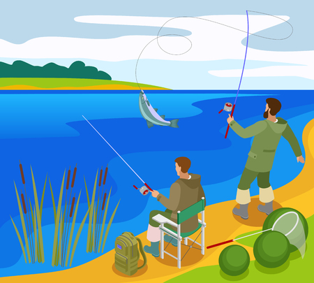 Fishermen with tackles during catching fish on bank river isometric composition vector illustration