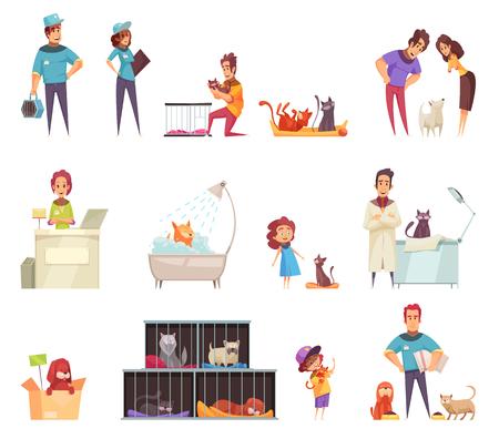 Bezdomne zwierzęta domowe dekoracyjne ikony zestaw z ludźmi opiekujących się zwierzętami w domu w schronisku i klinice weterynarza na białym tle ilustracji wektorowych