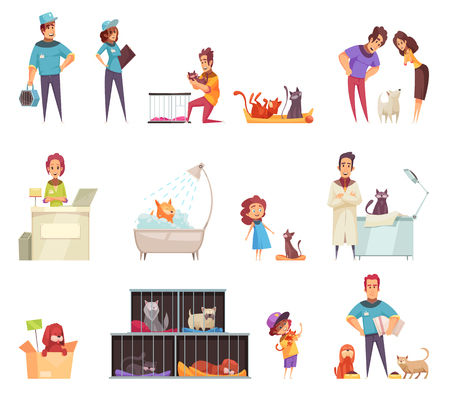 Homeless pets decorative icons set with people caring for animals at home in shelter and vet clinic isolated vector illustration