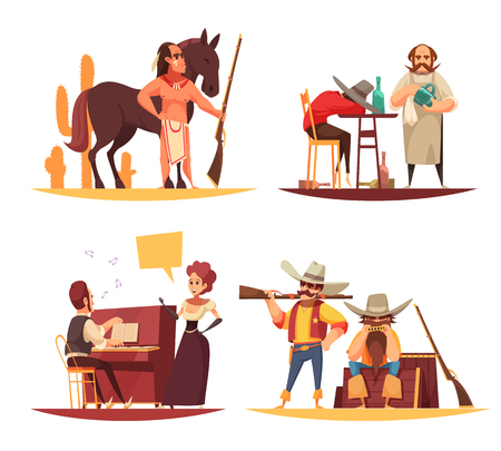 Cowboy design concept with flat human characters of various persons in different situations with cartoon pictograms vector illustration