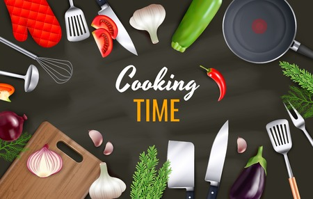 Cooking time background with kitchenware and cookware objects realistic vector illustration  イラスト・ベクター素材