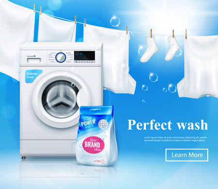 Washing machine advertising composition with realistic washing machine and laundry detergent images with text and clickable button vector illustration Иллюстрация