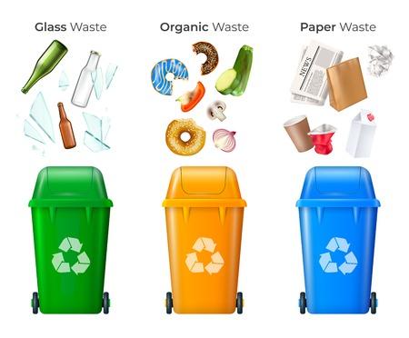 Śmieci i recykling zestaw ze szkłem i odpadami organicznymi realistyczną ilustracją wektorową na białym tle