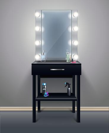 Profesjonalne lustro do makijażu z włączonymi światłami w pustym pokoju realistycznej ilustracji wektorowych kompozycji