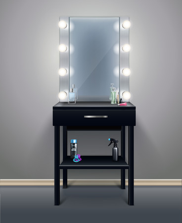 Professional makeup mirror with turned on lights in empty room realistic composition vector illustration Standard-Bild - 110844716