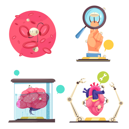 Nanotechnologies 2x2 design concept showing use of nanorobots and microchips in modern medicine flat vector illustration Illustration