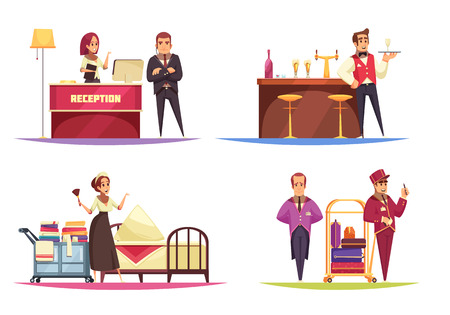 Hotel design concept with view of various situations in lobby with human characters of bellboy workers vector illustration Banque d'images - 128160593