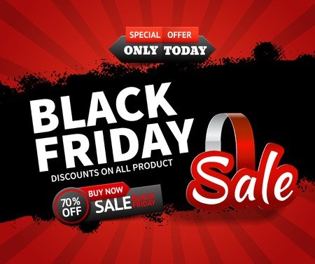 Schwarzer Freitag-Verkauf des flachen Designs und Rabatte auf alle Produkthintergrund-Vektorillustration