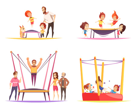 Jumping trampolines design concept with flat cartoon human characters of trampolining adult people family and children vector illustration Vettoriali