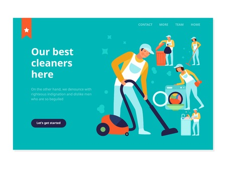 Staff of cleaning service during household works web banner on turquoise background flat vector illustration Ilustração