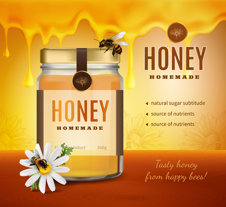 Honey advertising composition with realistic image of product packaging bottle with brand name and editable text vector illustration