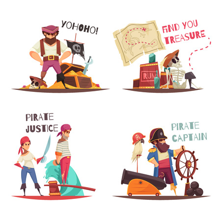 Pirate design concept with flat human characters of cartoon pirate captain and sailors with text captions vector illustration
