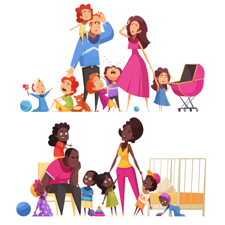 Large family two horizontal compositions with many little children and tired parents flat vector illustration