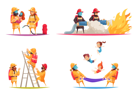 Firefighter design concept with flat compositions of fire situations with firemen crew with equipment and uniform vector illustration