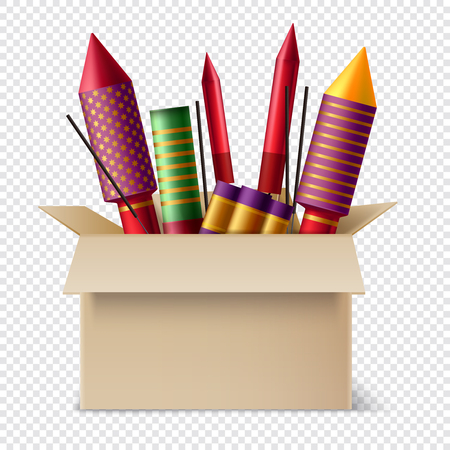 Realistic pyrotechnics in box composition with different sparklers and sticks of bengal lights inside the pasteboard box vector illustration