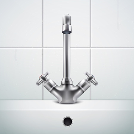Composición realista del grifo de metal con imágenes de la pared del baño cubierta con azulejos blancos y la ilustración de vector de fregadero Ilustración de vector