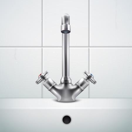 Realistische Zusammensetzung des Metallhahns mit Bildern der Badezimmerwand, die mit weißen Fliesen und Waschbeckenvektorillustration bedeckt ist covered Vektorgrafik