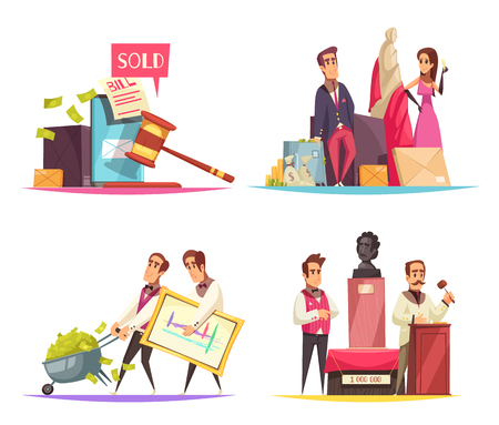 Auction design concept with flat doodle style human characters trading and buying items by auction vector illustration Ilustração