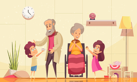 Ouderen helpen thuis platte cartoon compositie met kleinkinderen die koffiekoeken serveren aan oude grootouders vectorillustratie grand