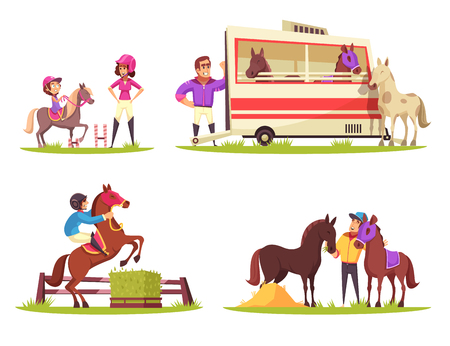 Equestrian sport design concept with set of four outdoor compositions with cartoon characters of animals and people vector illustration