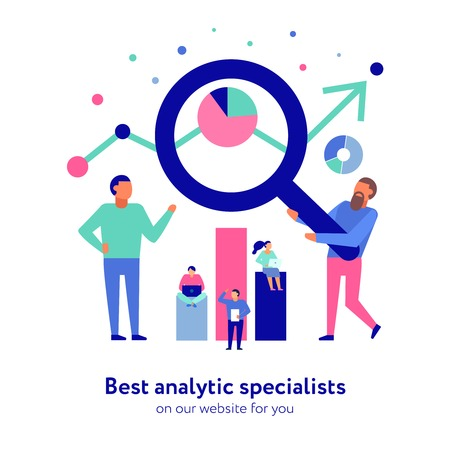 Professional data analytics specialists for your business efficiency growth support flat composition banner for website vector illustration Illustration