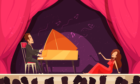 Opera theater flat cartoon horizontal composition with singer aria and pianist onstage performance audience heads silhouettes vector illustration