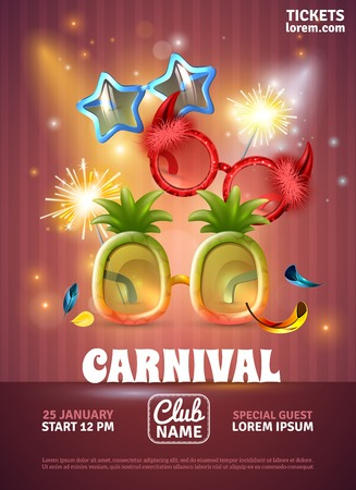 Christmas party celebration carnival  special club invitation realistic poster  with bengal lights and funny glasses vector illustration Vettoriali