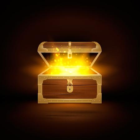 Briller dans la vieille composition réaliste de coffre en bois de coffre au trésor avec couvercle ouvert et illustration vectorielle de particules dorées