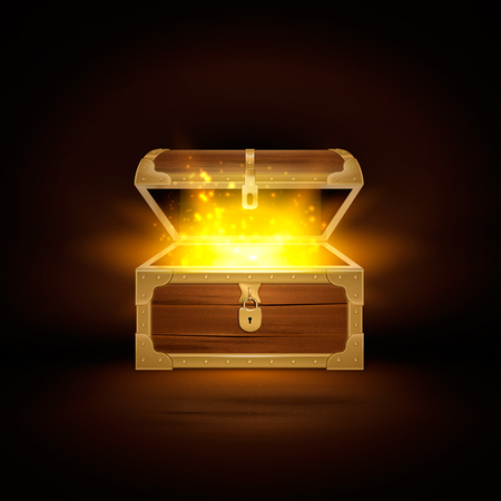 Shine in old wooden chest realistic composition of treasure coffer with open lid and golden particles vector illustration