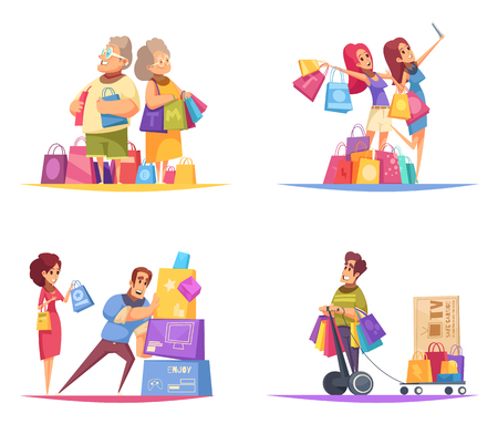 Shopaholic design concept with compositions of colourful cartoon style human characters with goods in colourful boxes vector illustration