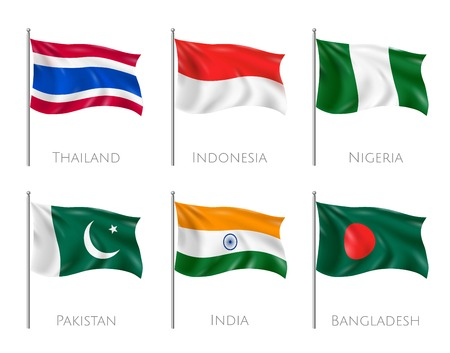 National flags set with Thailand and Indonesia flags realistic isolated vector illustration