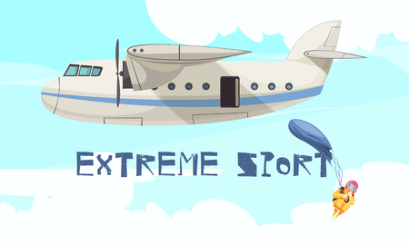 Extreme skydiving sport jump from airplane flat advertising poster with departing plane free fall stage vector illustration