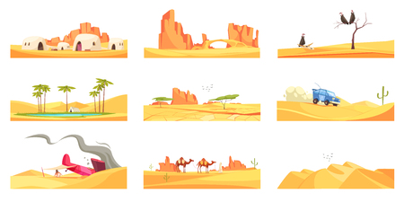 Desert set of nine isolated landscape compositions with flat images of trees canyons and living houses vector illustration Illusztráció