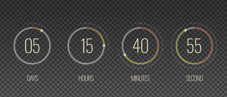 Interface countdown transparent set with hour and minute symbols realistic isolated vector illustration