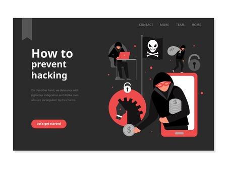 Protection contre les attaques de pirates page web avec menu sur fond noir illustration vectorielle plane
