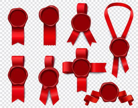 Wax stamp ribbons set of realistic 3d isolated images with empty seals and festive red ribbon vector illustration