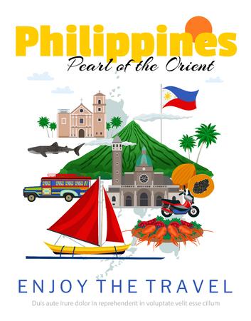 Reisen Sie zum Philippinen-Plakat mit Nationalflagge und historischen Gebäuden, traditionelles Essen und Transportvektorillustration