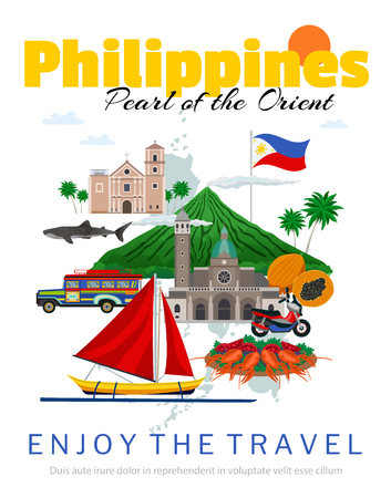 Travel to philippines poster with national flag and landmarks historical buildings traditional food and transportation vector illustration 免版税图像 - 128160619