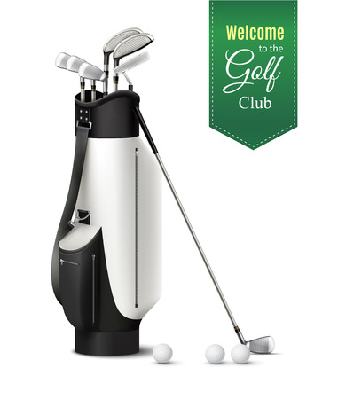 Bag of various golf clubs and balls realistic set on white background vector illustration