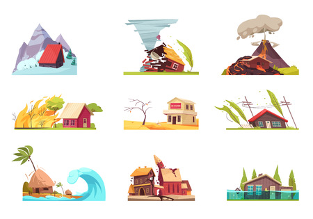 I disastri naturali set di nove immagini isolate con composizioni all'aperto di case viventi in diverse condizioni illustrazione vettoriale Vettoriali