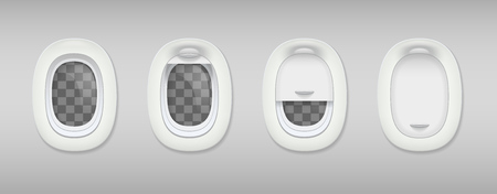 Colored porthole realistic composition four portholes in airplane closed and open vector illustration