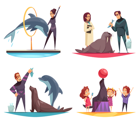 Dolphinarium design concept with flat human characters of animal handlers and feeders with animals and kids vector illustration
