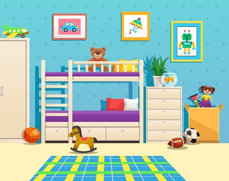 Tidy children room interior with bunk bed pictures on wall aquarium with fish and toys vector illustration Illustration