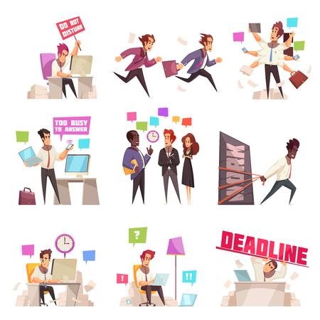 La gente de negocios aisló los iconos conjunto de demasiado ocupados y apresurados para trabajar los trabajadores de oficina ilustración vectorial plana Ilustración de vector
