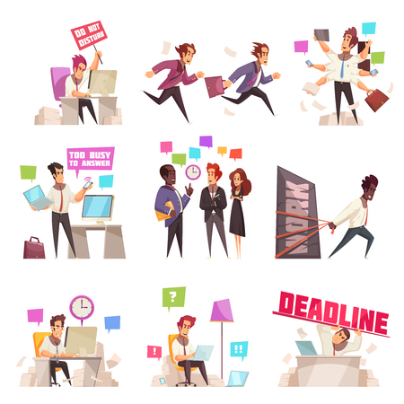 Business people isolated icons set of too busy and hurrying to work office workers flat vector illustration Illustration