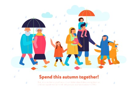 Family walking outdoor together on rainy autumn day isometric composition with parents kids grandparents dog vector illustration