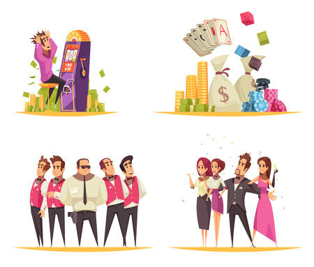 Casino design concept with cartoon style compositions of slot machines cards and coin images with people vector illustration
