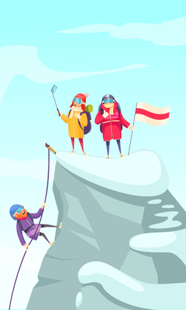 Mountaineering cartoon picture with mountain climbers ascending rock peak and making selfie on the top vector illustration Imagens - 110955743